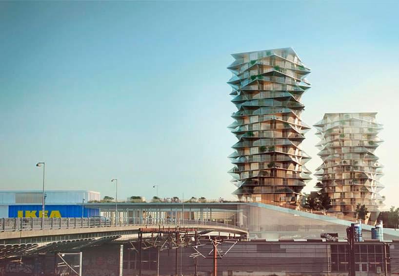 Жилые башни Cactus Towers рядом с магазином IKEA в Копенгагене