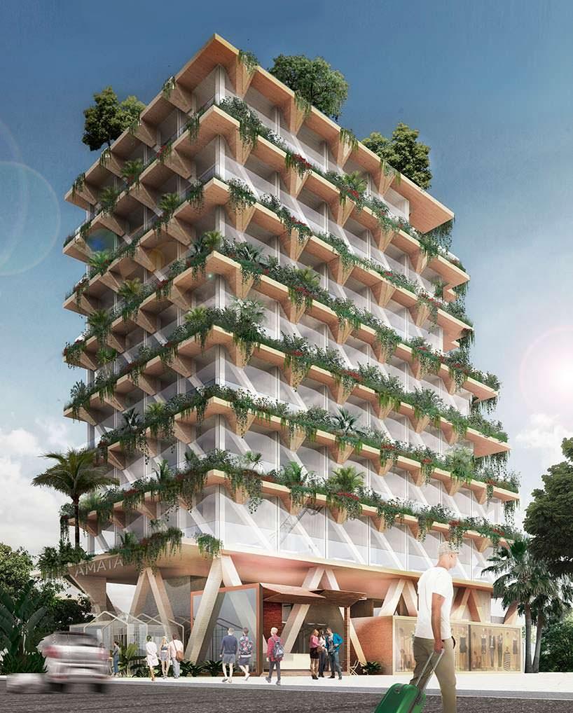 Многоэтажное здание из дерева