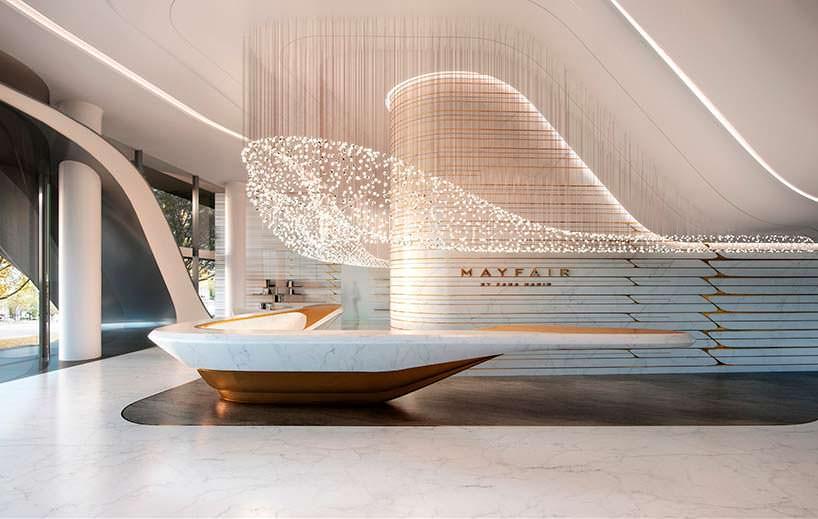 Лобби башни Mayfair в Мельбурне от Zaha Hadid Architects