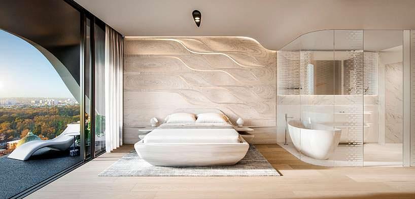 Элитная спальня в башне Mayfair от Zaha Hadid Architects