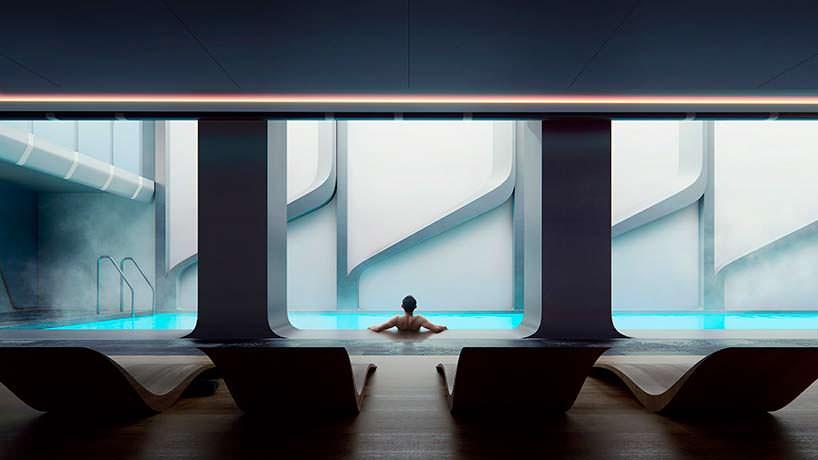 Бассейн и спа в башне Mayfair от Zaha Hadid Architects