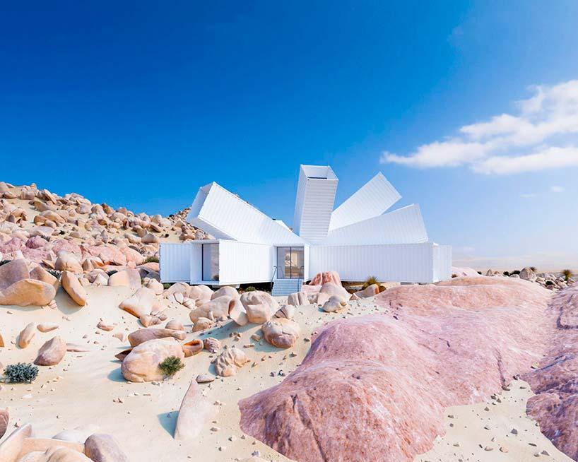 Белый дом из морских контейнеров. Архитектора Whitaker Studio
