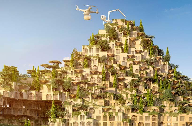 Многоквартирный комплекс с фермами на крыше