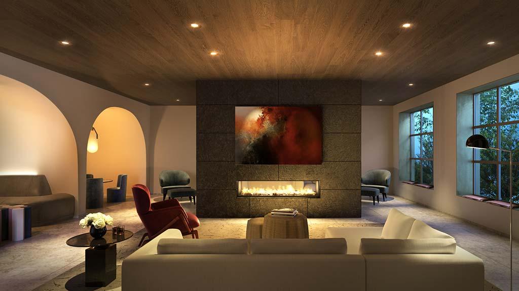 Двухсторонний камин в дизайне интерьера квартиры