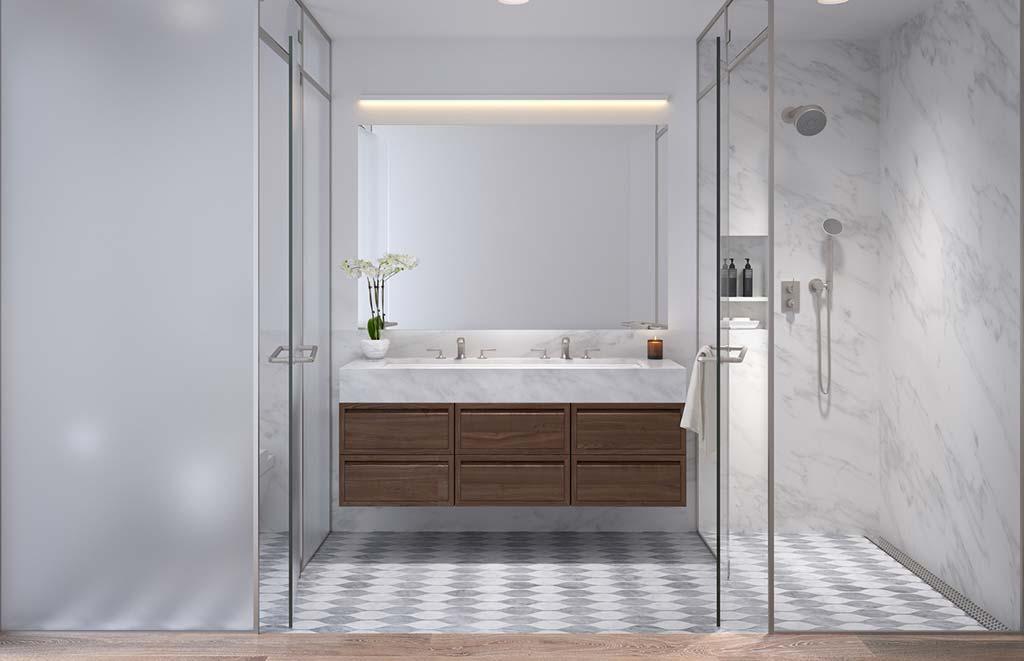 Ванная со стеклянными дверями