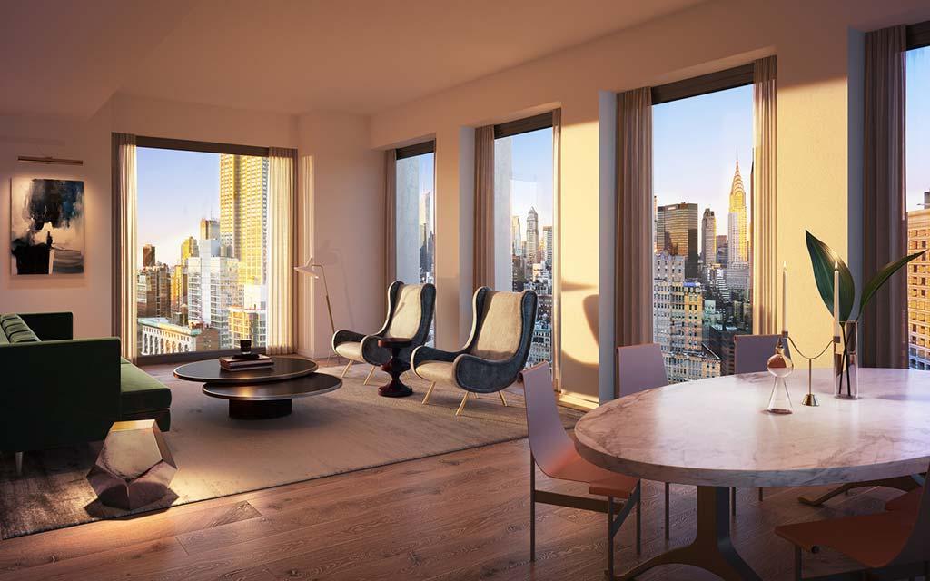 Элитная гостиная столовая в квартире небоскреба 30 E 31