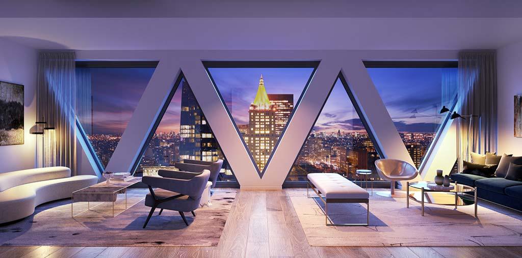 Гостиная с панорамным окном в башне 30 E 31