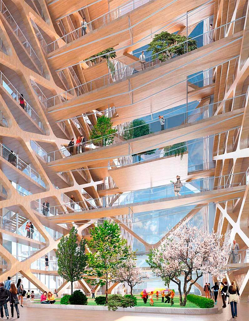 Деревянный небоскреб с атриумом. Проект Perkins + Will
