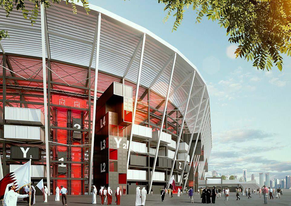 Стадион из контейнеров для чемпионата мира 2022 года в Катаре
