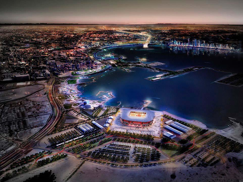 Модульный стадион из контейнеров Ras Abu Aboud в Катаре