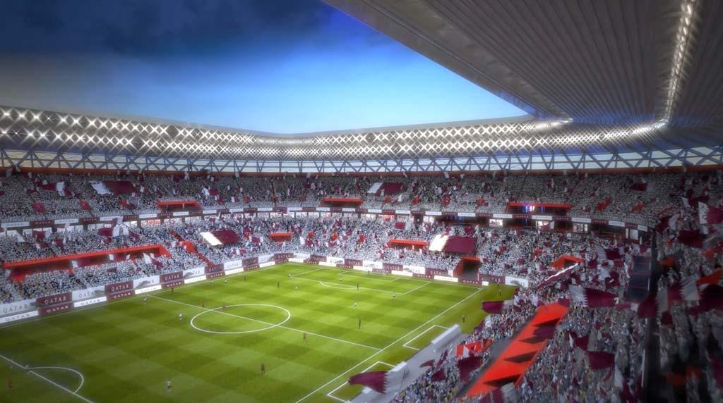 Разборный стадион из транспортных контейнеров в Катаре
