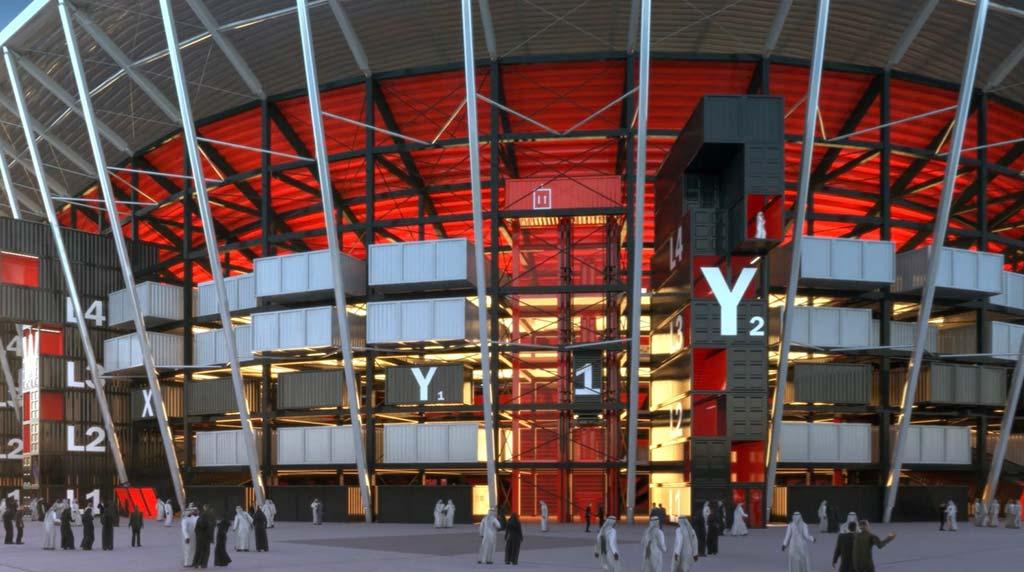 Стадион из транспортных контейнеров от Fenwick Iribarren Architects