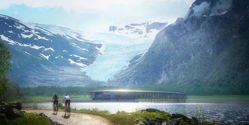 Отель-кольцо в Норвегии с видом на ледник от Snøhetta