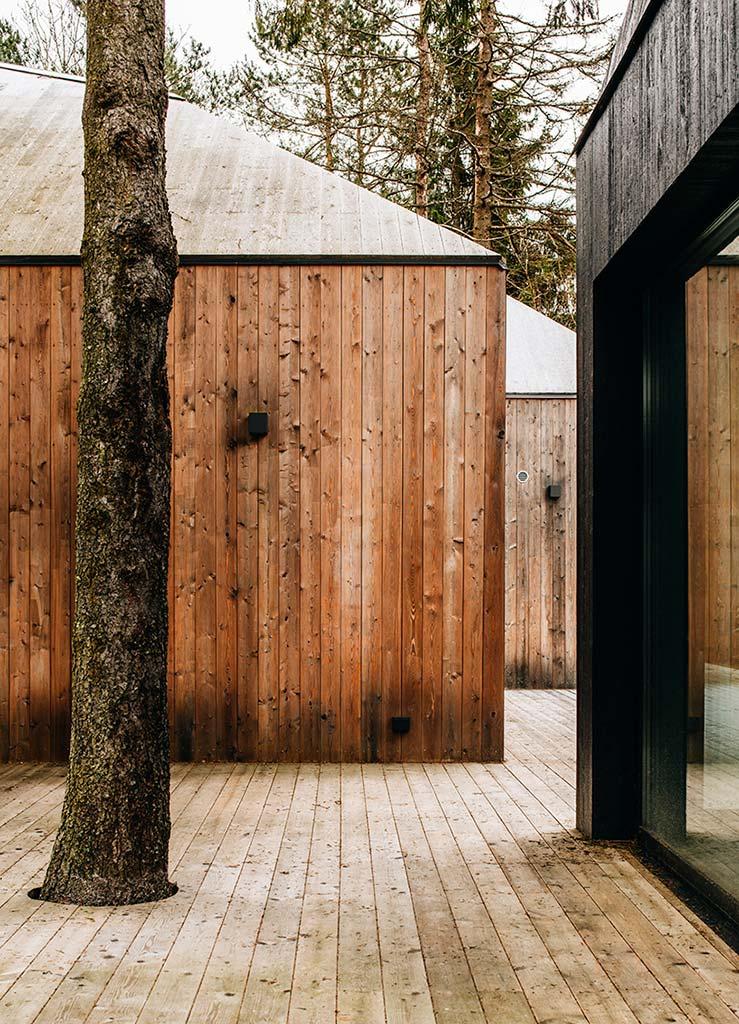 Деревянный дом с террасой в лесу Эстонии