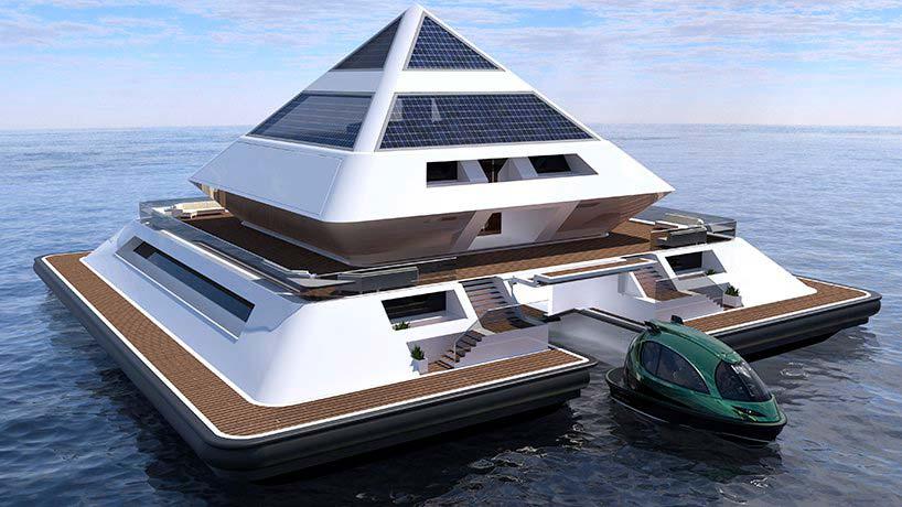 Плавающая пирамида из стекловолокна, углерода и стали