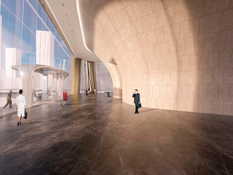 Дизайн фойе башни Hangzhou Wangchao Center