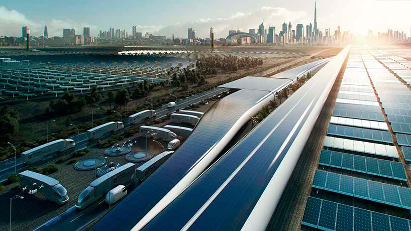 Солнечные панели на крыше терминала Virgin Hyperloop One