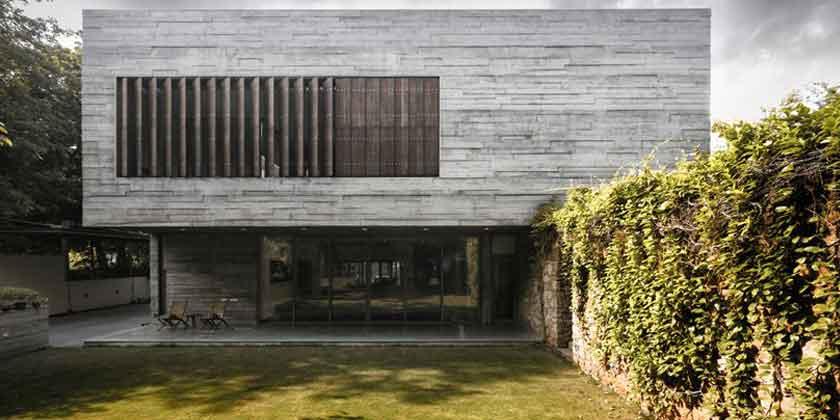 Союз бетона и зелени в новом доме в Индии от FLXBL | фото