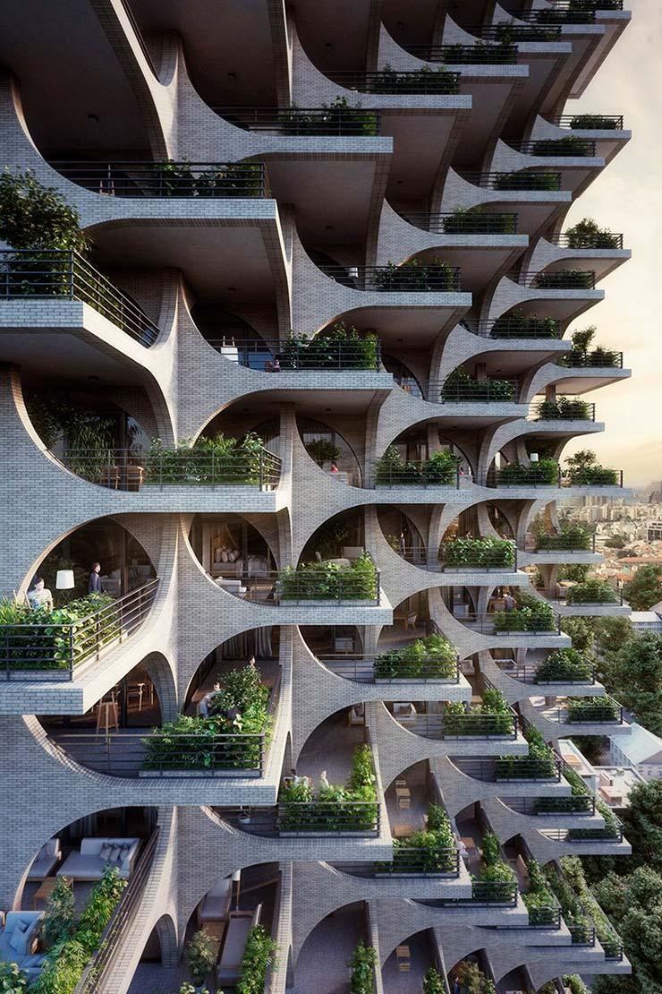 Каскадные террасы небоскреба Tel Aviv Arcades от Penda