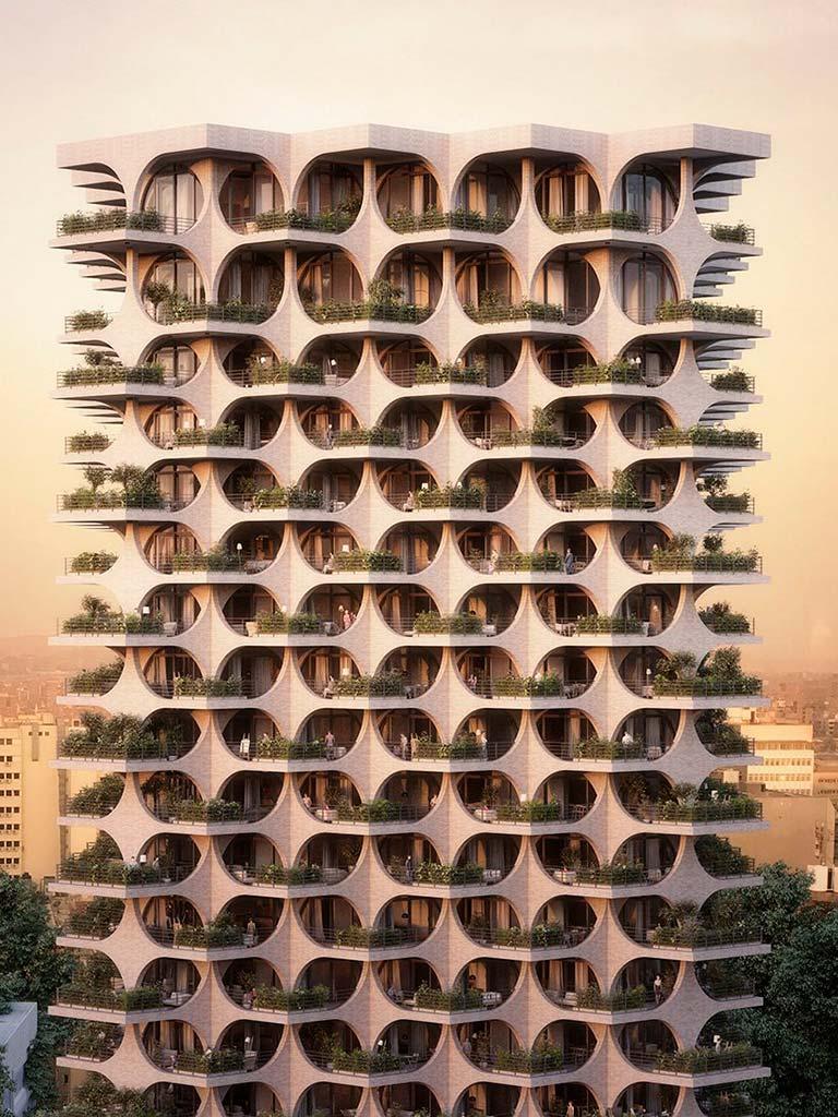 Башня Tel Aviv Arcades с каскадным фасадом