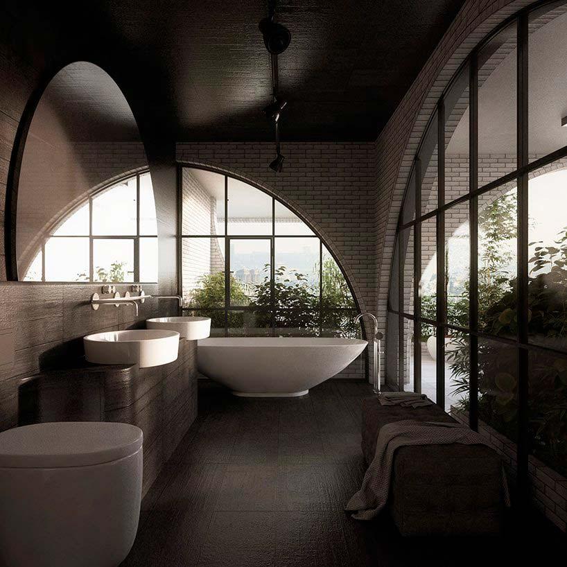 Дизайн ванной комнаты в квартире башни Tel Aviv Arcades