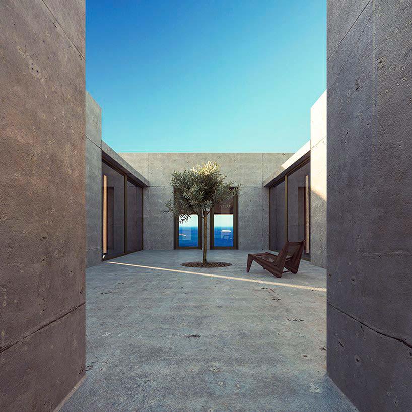 Бетонный дом на острове Санторини в Греции. Проект Kapsimalis