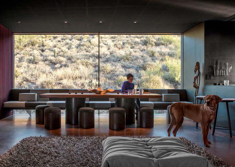 Дизайн гостиной-столовой от Wendell Burnette Architects