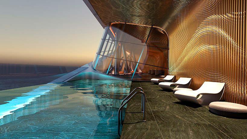 Пейзажный бассейн в небоскребе Mercury Tower от ZHA