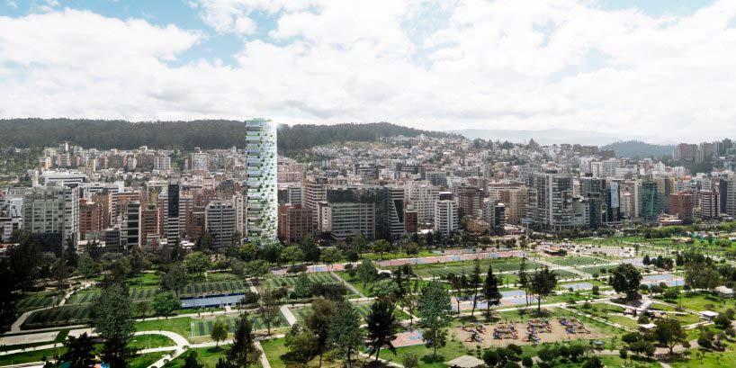 Небоскреб IQON рядом с парком La Carolina в Кито, Эквадор