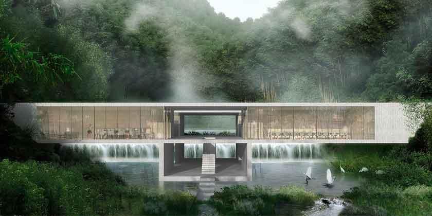 Студия CLOU интегрирует курорт в ландшафт китайских гор