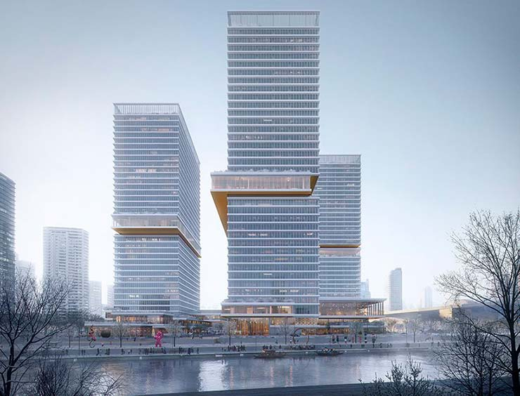 Три офисные башни Huamu Lot 10 в Шанхае от KPF