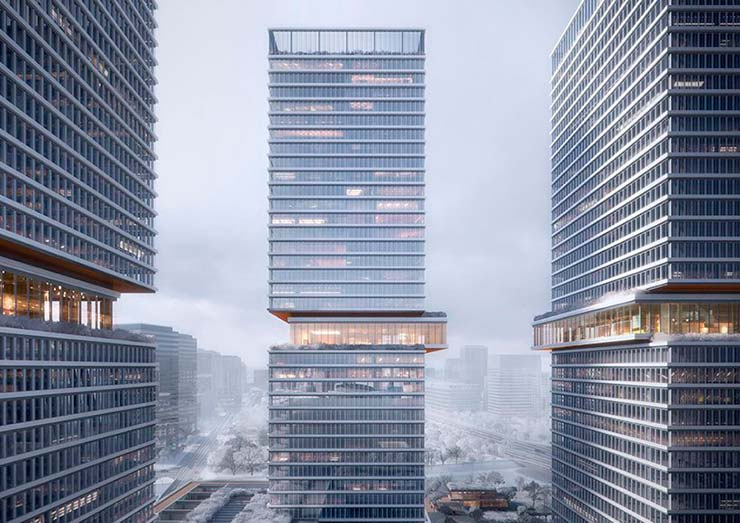 Башня комплекса Huamu Lot 10 в Шанхае от KPF