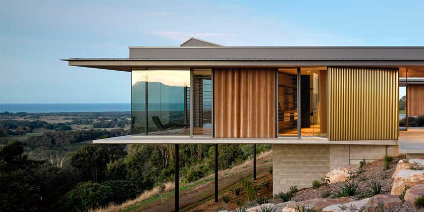 Дом с видом на долину в Австралии от DFJ Architects   фото