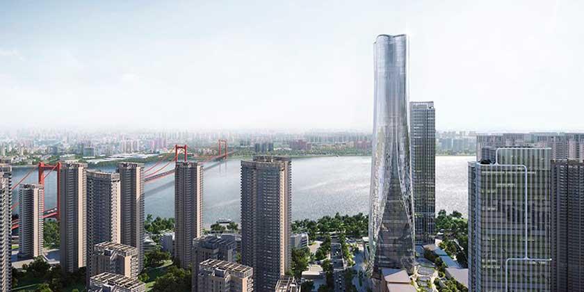 В Ухане начали строить новый небоскрёб Shimao высотой 300 м.